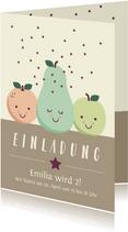 Einladungskarte zum Kindergeburtstag Früchte und Sterne
