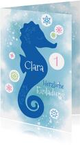 Einladungskarte zum Kindergeburtstag Seepferdchen