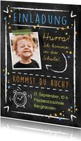 Einladungskarte zur Einschulung Foto & Kreidelook