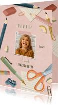 Einladungskarte zur Einschulung rosa Foto, Schere & Papier