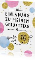 Einladungskarte zur Geburtstagsparty Happy Dots