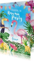 Einladungskarte zur Hawaiiparty Flamingo & Tukan