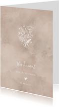Einladungskarte zur Hochzeit altrosa Aquarell