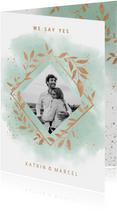 Einladungskarte zur Hochzeit Aquarell mintgrün mit Foto