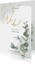 Einladungskarte zur Hochzeit Eukalyptus & Timeline