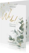 Einladungskarte zur Hochzeit Euklalyptus & Timeline