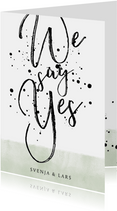 Einladungskarte zur Hochzeit im Aquarelllook mit Punkten
