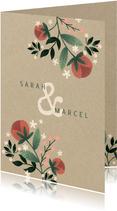 Einladungskarte zur Hochzeit im botanischen Look