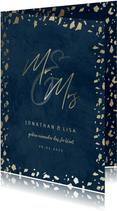 Einladungskarte zur Hochzeit in dunkelblau mit Goldrand