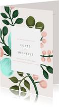 Einladungskarte zur Hochzeit in rosa mit Blumenzweigen