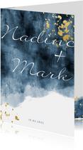 Einladungskarte zur Hochzeit mit Foto im Aquarelldesign