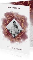 Einladungskarte zur Hochzeit mit Foto in rot mit Goldzweigen