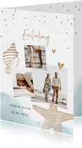 Einladungskarte zur Hochzeit Strandfeeling mit Foto