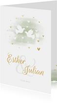 Einladungskarte zur Hochzeit Tauben und Herzen