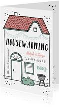 Einladungskarte zur Housewarming-Grillparty