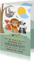 Einladungskarte zur Indianerparty Kindergeburtstag