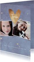 Einladungskarte zur Konfirmation Herzen & Fotocollage