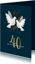 Einladungskarte zur Rubinhochzeit dunkelblau mit Tauben