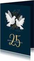 Einladungskarte zur Silberhochzeit dunkelblau mit Tauben