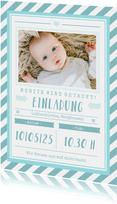Einladungskarte zur Taufe Foto grafisch blau