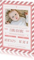 Einladungskarte zur Taufe Foto grafisch rosa