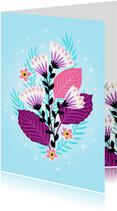 Elegante verjaardagskaart met bloemen en sterretjes