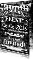 Uitnodigingen - Feest hout zelf invullen e