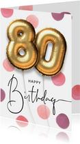Feestelijke felicitatie verjaardagskaart ballon 80 jaar