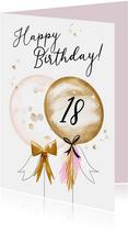 Feestelijke kaart met ballonnen, confetti en sterretjes