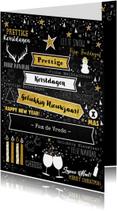 Feestelijke kerstkaart wegwijzer typografisch