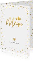 Feestelijke menukaart trouwen met confetti en goud