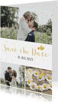 Feestelijke Save the Date kaart met 3 foto's en confetti