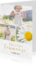 Feestelijke uitnodiging communie fotocollage meisje