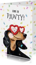 Feestelijke verjaardagskaart met geïllustreerde hond