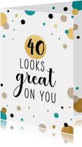 Feestelijke verjaardagskaart met gouden confetti