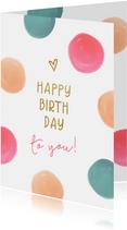 Feestelijke verjaardagskaart met kleurrijke stippen