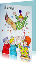Verjaardagskaarten - Feestvarken in de lucht
