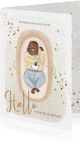 Feliciatiekaart geboorte baby in mozesmandje watercolour