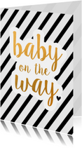 Felicitatie - baby on the way zwart/goud