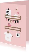 Felicitatiekaarten - Felicitatie - Babykamer plankjes roze