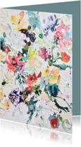 Felicitatie blanco - bloemen geschilderd