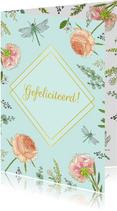 Felicitatie bloemen en libellen