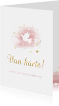 Felicitatie communie duif met hartjes en waterverf
