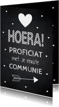Felicitatie communie krijtbord