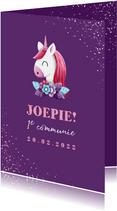 Felicitatie communie unicorn met confetti en foto