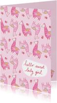 Felicitatiekaarten - Felicitatie dochter handgetekend alpaca roze