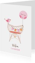 Felicitatie dochter rotan wiegje vogel roze oranje