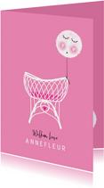 Felicitatie dochter wiegje ballon roze