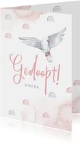 Felicitatie doopsel meisje witte duif regenboogjes roze