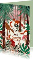Felicitatie geboorte dieren in het bos bij wiegje